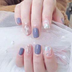 方圆形水波纹短指甲渐变美甲图片
