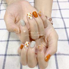 橙色方圆形晕染橘子🍊美甲图片