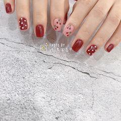 方形波点短指甲水果手绘樱桃美甲图片