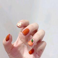 橙色方圆形水果夏天美甲图片