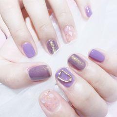 方圆形夏天短指甲贝壳片金箔跳色紫色美甲图片