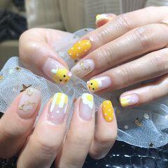 黄色方圆形玻尿酸鸭鸭卡哇伊已达瓦美甲图片