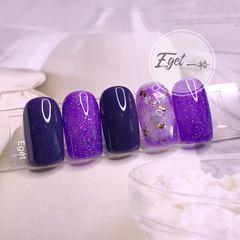 方圆形晕染渐变夏天贝壳片金箔紫色美甲图片