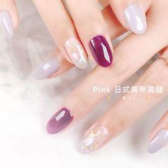 圆形夏天跳色贝壳片简约金箔紫色美甲图片