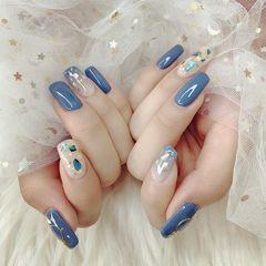 方圆形贝壳片渐变蓝色夏天美甲图片