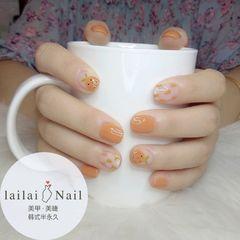 橙色水果方圆形手绘美甲图片