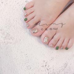 绿色夏天脚美甲图片