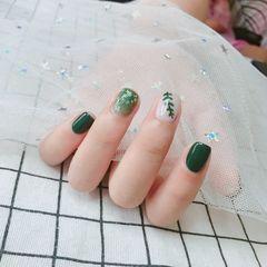绿色方圆形夏天彩绘美甲图片