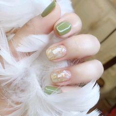绿色方圆形贝壳片金箔夏天美甲图片