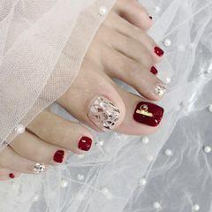 脚部红色贝壳片新娘美甲图片