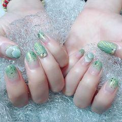 圆形绿色渐变贝壳渐变,贝壳美甲图片