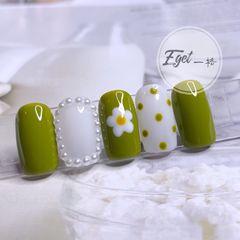 绿色方圆形夏天花朵可爱珍珠波点美甲图片
