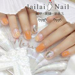 橙色水果方圆形手绘树叶圆法式夏天柠檬美甲图片