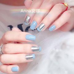 方圆形蓝色银色平法式美甲图片