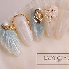 夏天晕染日式钻饰圆形蓝色贝壳金属饰品美甲图片
