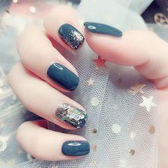 银色蓝色方形夏天短指甲晕染简约金箔贝壳片灰色闪粉美甲图片
