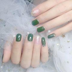 绿色银色圆形跳色美甲图片