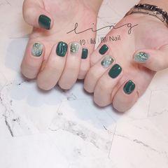 绿色方圆形夏天晕染金箔简约贝壳片水波纹美甲图片