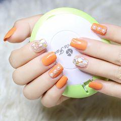 方圆形贝壳片简约金箔夏天橙色珍珠美甲图片