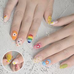 彩色方圆形夏天波点水果跳色简约美甲图片
