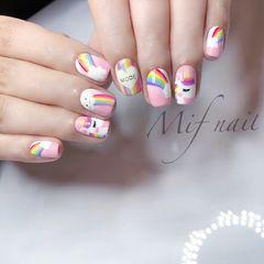 方圆形粉色彩色手绘彩虹独角兽可爱夏天美甲图片