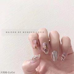 彩色裸色银色圆形夏天水波纹晕染金箔贝壳片新娘美甲图片
