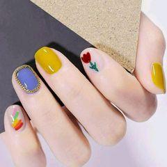 黄色方圆形跳色花朵简约蓝色手绘彩虹美甲图片