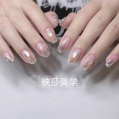 裸色银色方圆形新娘贝壳片简约渐变魔镜粉水波纹美甲图片