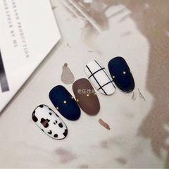 蓝色秋天格纹简约豹纹棕色白色磨砂圆形美甲图片