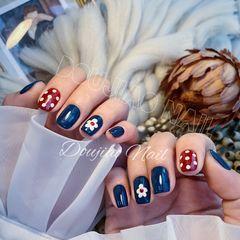 蓝色红色方圆形秋天波点短指甲简约上班族花朵可爱美甲图片