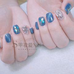 方圆形贝壳片水波纹蓝色猫眼银色美甲图片