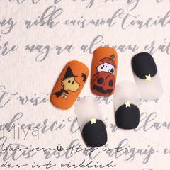 橙色万圣节黑色圆形手绘卡通史努比圆法式磨砂可爱的橙色美甲图片