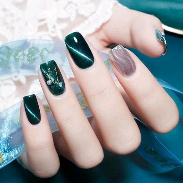 方形绿色猫眼银色水波纹贝壳片美甲图片