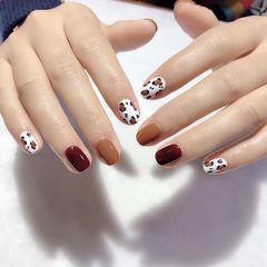 红色方圆形秋天短指甲手绘豹纹焦糖色美甲图片