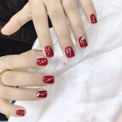 红色方圆形新娘钻简约显白美甲图片
