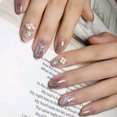 圆形彩色晕染手绘日式施华洛世奇珍珠裸色白色分享美甲图片