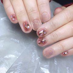 方圆形粉色贝壳片金箔仙女砂~最亮的星✨美甲图片