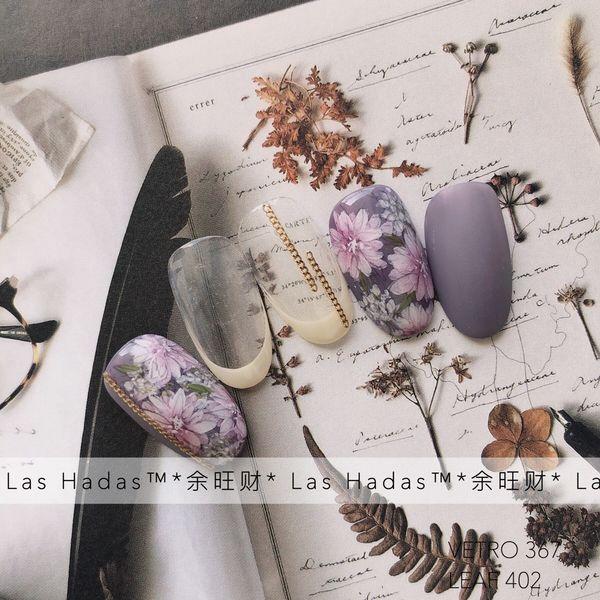 圆形磨砂紫色手绘花朵紫色是很多人的爱了 在新年美甲选择里面 可以考虑一下做个紫色系的款式替代红色鸭 😂😂😂😂 (每天都在劝退做红色晕染款的客人 *余旺财美甲设计* 美甲图片