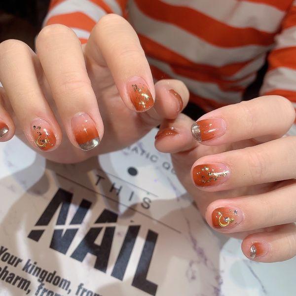 橙色黄色方圆形新年渐变金箔简约贝壳片法式美甲图片