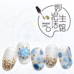 黄色蓝色圆形磨砂春天手绘可爱美甲图片