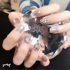 短指甲魔镜粉水波纹钻美甲图片