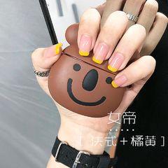 裸色方圆形夏天简约短指甲黄色手绘法式美甲图片