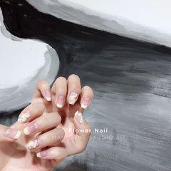 黄色方圆形夏天短指甲法式珍珠芭蕾舞鞋美甲图片