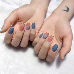 蓝色橙色方圆形夏天跳色晕染简约短指甲法式美甲图片