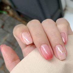 红色渐变简约韩式亮片金色美甲图片