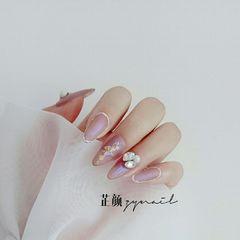 裸色尖形夏天磨砂新娘简约金箔手绘灰色珍珠极光粉磨砂款美甲图片