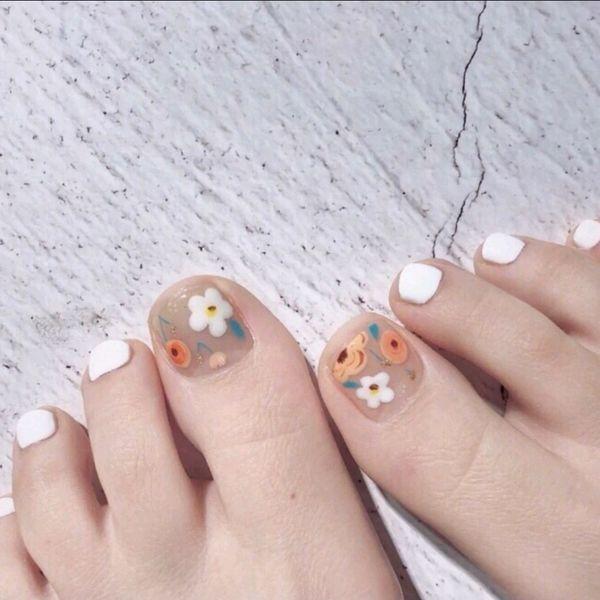 脚花朵夏天方圆形美甲图片