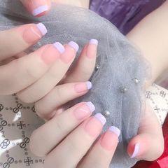 裸色方圆形夏天短指甲简约贝壳片渐变法式美甲图片