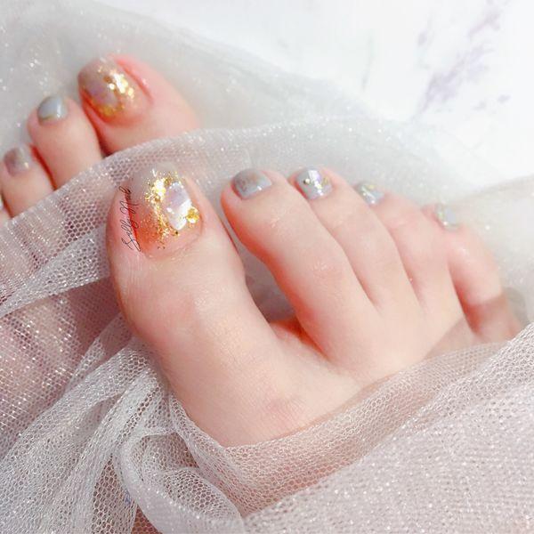 方形夏天短指甲美甲图片