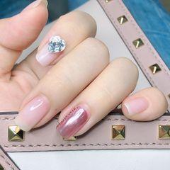 裸色方圆形简约跳色夏天短指甲紫色钻魔镜粉极光紫指甲,20+天的对比来啦!美甲图片